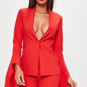 Missguided Red Asymmetric Draped Sleeve Blazer 2